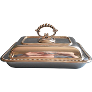 Antique English Harrison Bothers and Howson Silver Plated Serving Dish Removable Handle Convertible