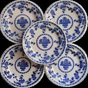 Minton Delft Plates Mintons Antique Flow Blue White China