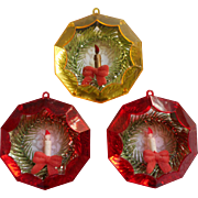 Vintage Jewelbrite Diorama Wreath Candle Christmas Tree Ornaments 3 Plastic