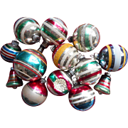 Vintage Striped Glass Christmas Tree Ornaments 13 Shiny Brite Etc Balls Bells Indents Mica