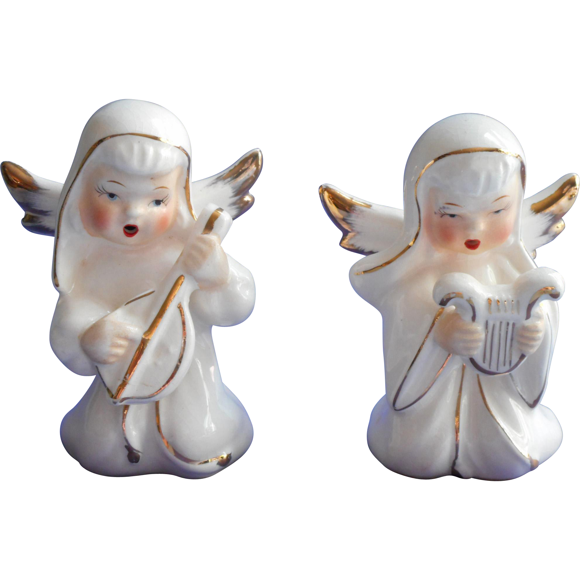 Vintage 1950s Japan Christmas Angel Figurines Pair Gold White Hand ...