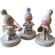 Vintage Wooden Christmas Erzgebirge Angels Girls 3 Piece Band Pastel Hand Painted