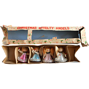 Vintage Christmas Spun Cotton Metal Foil Lace Angels Original Box Japan Ornaments Midcentury