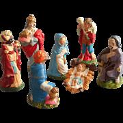Vintage Japan Composition Nativity Figures Set Hand Painted TLC