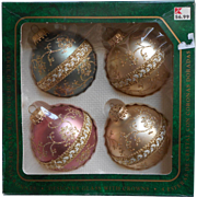 Vintage Krebs Christmas Tree Glass Ornaments Brocade Gold Fancy Braid Ribbon