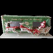 Vintage Bradford Christmas Santa Sleigh Reindeer Silver Plastic Bottle Brush Tree Glitter Base