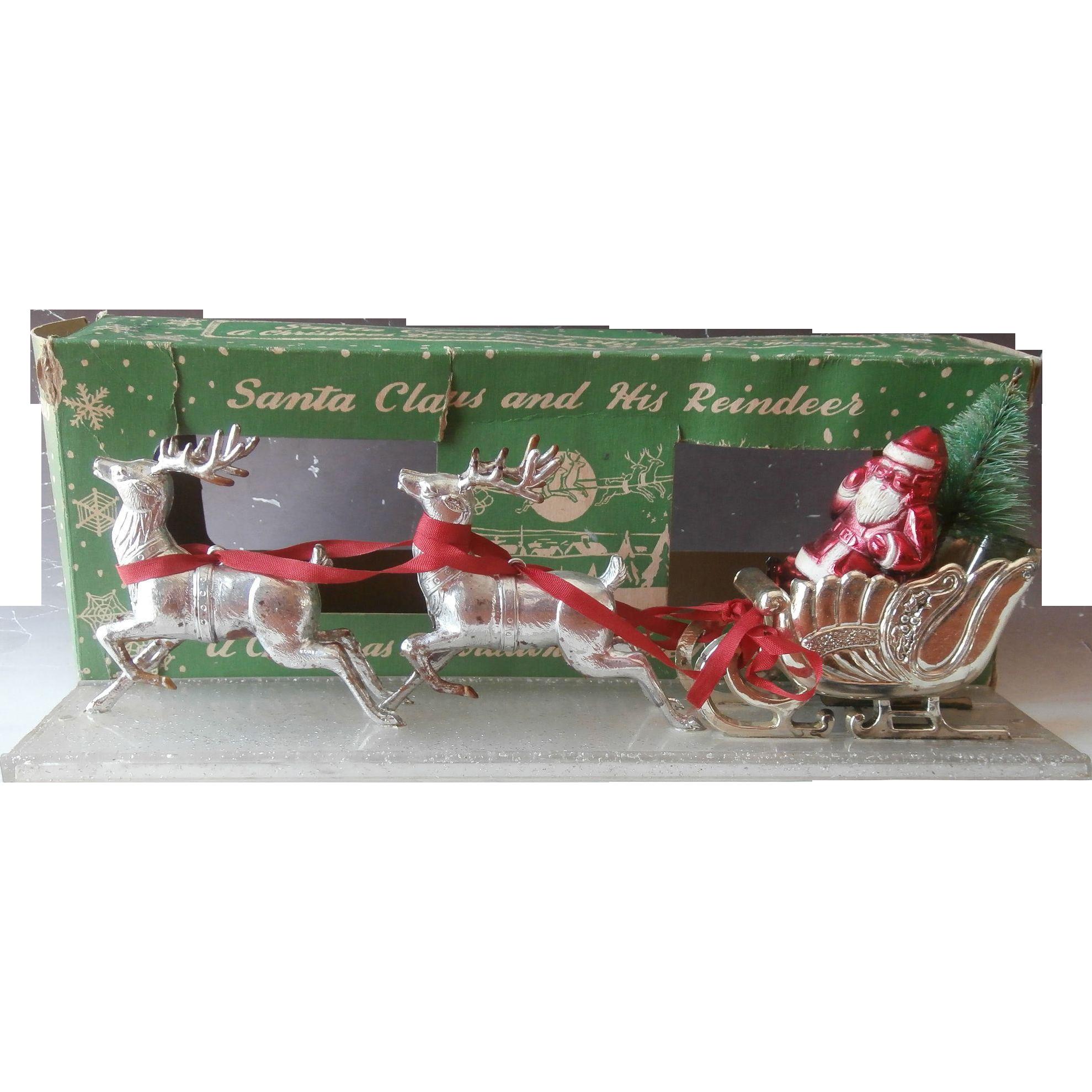 Vintage Bradford Christmas Santa Sleigh Reindeer Silver ...