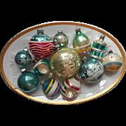 Vintage Christmas Ornaments Glass All Aqua Blue Shiny Brite Poland USA Etc