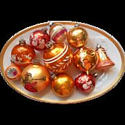 Vintage Christmas Ornaments Glass All Orange Shiny Brite Poland USA Austria Etc - Red Tag Sale Item