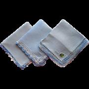 Vintage Hankies All Blue Linen With Crochetd Lace 3 Unused