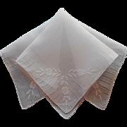 Vintage Hankie Linen Appliqued Fine Hemstitching