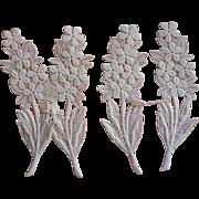 Vintage Lace Appliques Flowers Leaves 6.75 Inches Long