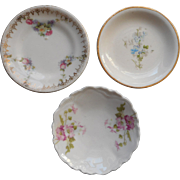 Antique Butter Pat Dishes 3 Flowered