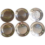 Monogram S Bread Plates Silver Plated Vintage Set 6