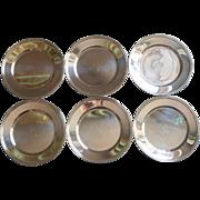 Monogram S Bread Plates Silver Plated Vintage Set 6