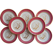 Monogram P. B. Vintage China Plates Pink Gold 8 Bread Syracuse China