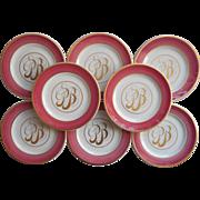 Monogram P. B. Vintage China Plates Pink Gold 8 Bread Syracuse China