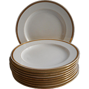 1920s Minton Gold Encrusted Band 10 Dinner Plates White China Mintons