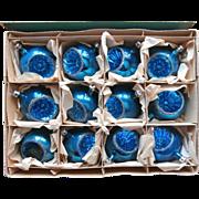 Vintage Blue Indents Glass 11 Fantasia Poland Original Box Christmas Tree