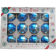Vintage Shiny Brite Ombre Blue Trim Time Glass Christmas Ornaments Original Box 12