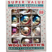 Vintage Shiny Brite Ombre Glass Christmas Tree Ornaments For Woolworth's Original Box