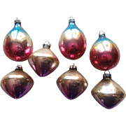 Vintage Christmas Tree Ornaments Glass Ombre Teardrops Flying Saucers