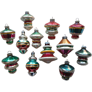Vintage Space Age Shiny Brite Etc Glass Ornaments Christmas UFO Spinning Tops 12
