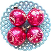 Vintage Shiny Brite Hot Pink Stencils Moon Stars Planets Ornaments Glass Christmas 2.75 Inch 2.5 Inch