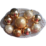Krebs Vintage Glass Christmas tree Ornaments All Gold Cream Filigree Ribbon