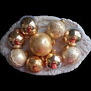 Krebs Vintage Glass Christmas tree Ornaments All Gold Cream Filigree Ribbon