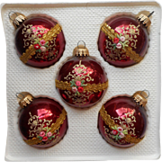 Vintage Krebs Burgundy Victorian Rose Motif Glass Christmas Ornaments Original Box