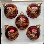 Vintage Krebs Burgundy Victorian Rose Motif Glass Christmas Ornaments Original Box
