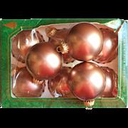 Krebs Vintage Bronze Mauve Mocha Velvet Glass Christmas Tree Ornaments 9