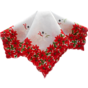 Vintage Hankie Christmas Print Printed Poinsettias Snowmen Cotton