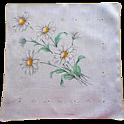 Vintage Hankie Printed Linen Daisies