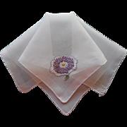 Vintage Hankie Hand Embroidery Petit Point Daisy Violets Bouquet