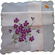 Vintage Hankie Swiss Embroidery Violets Original Label Unused