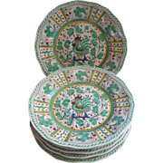 Green Aqua Rooster Le Cadeaux Large Plates Set 6 Very Hard To Find