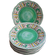 Green Aqua Rooster Le Cadeaux Salad Plates Set 6 Very Hard To Find