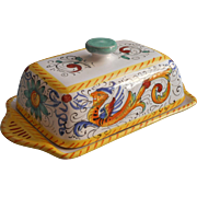 Vintage Italian Mojolica Butter Dish San Gimignano Hand Painted Pottery Italy
