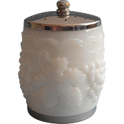 Imperial Milk Glass Grapes Salt Shaker Vintage Barrel Chrome Lid Is Stuck