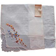 1930s Hankie Vintage Embroidery Lace Note From Owener Hankie Club