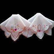 Pair Vintage Hankies Hankie Hand Embroidery