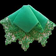 Vintage Hankie Green Linen Drippy Crocheted Lace Border Also Green