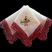 Vintage Scotland Souvenir Hankie Hand Embroidery Plaid Lace TLC