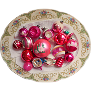 Vintage Christmas Ornaments Glass All Pink Shiny Brite Poland USA Stencils Indents Etc