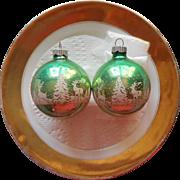 Vintage Shiny Brite Glass Stencil Christmas Ornaments Green Deer Pine Trees 2