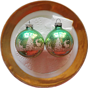 Vintage Shiny Brite Glass Stencil Christmas Ornaments Green Deer Pine Trees 2