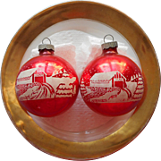 Vintage Shiny Brite Glass Stencil Christmas Ornaments Red Covered Bridge 2