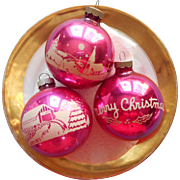 Vintage Shiny Brite Glass Stencil Christmas Ornaments Pink 3